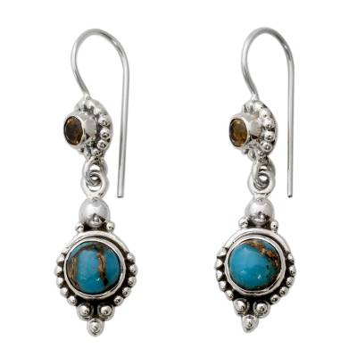 Citrine Sterling Silver Earrings with Composite Turquoise