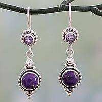 Amethyst dangle earrings, 'Violet Reverie' - Amethyst and Composite Turquoise Sterling Silver Earrings