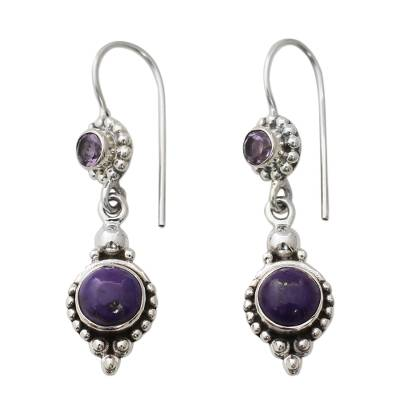 Amethyst and Composite Turquoise Sterling Silver Earrings