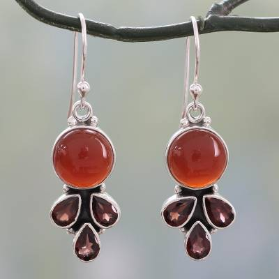 Carnelian and garnet dangle earrings, 'Ardent Color' - Colorful Fair Trade Gemstone Earrings from India