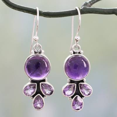 Amethyst Dangle Earrings Lilac Color Handcrafted Silver From India