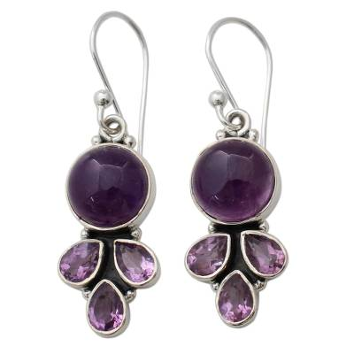 Amethyst Handcrafted Silver Earrings from India
