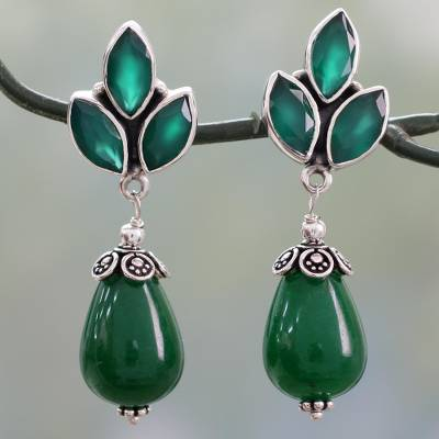 Onyx and chalcedony dangle earrings, 'Glowing Green' - Glossy Green Earrings with Onyx and Chalcedony from India