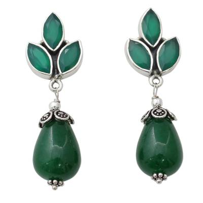 Glossy Green Earrings with Onyx and Chalcedony from India