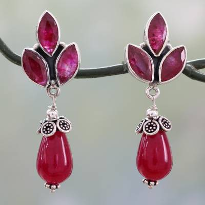 Chalcedony dangle earrings, 'Glowing Pink' - Glossy Pink Chalcedony Earrings on 925 Silver from India