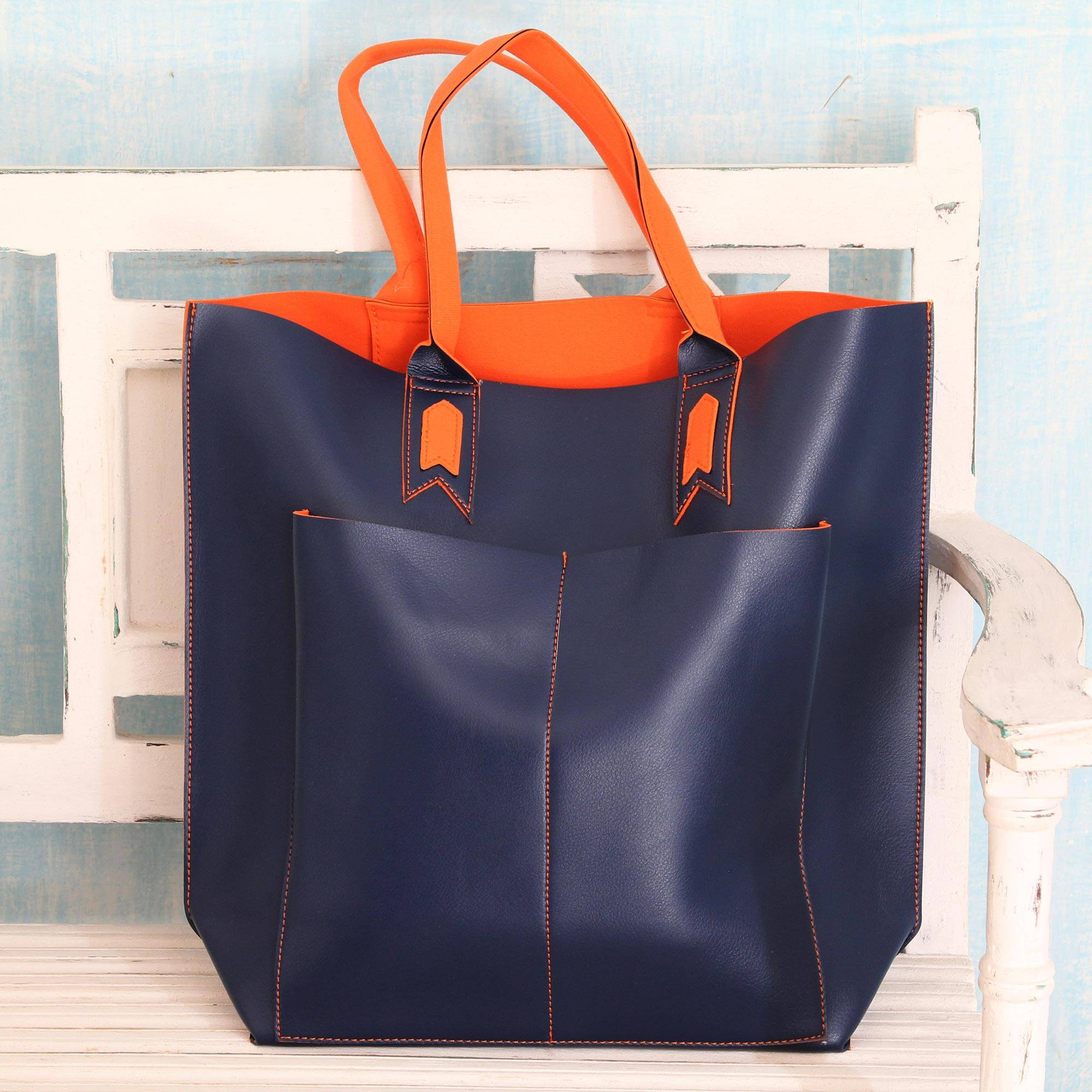e9d4051ee3be Handcrafted Navy Blue Tote Bag With Orange Accents Versatile