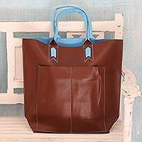 Handcrafted tote handbag, 'Versatile Chocolate'