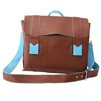 Handcrafted messenger bag, 'Practical Chocolate' - Brown Messenger Bag with Baby Blue Trim Handcrafted in India