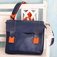 Handcrafted messenger bag, 'Practical Navy' - Orange Trim Handcrafted Navy Blue Messenger Bag