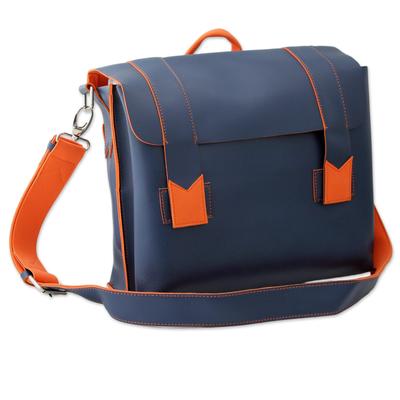 Orange Trim Handcrafted Navy Blue Messenger Bag