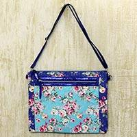 Cotton blend shoulder bag, 'Blue Rose Bower' - Blue Floral Print Cotton Blend Shoulder Bag from India