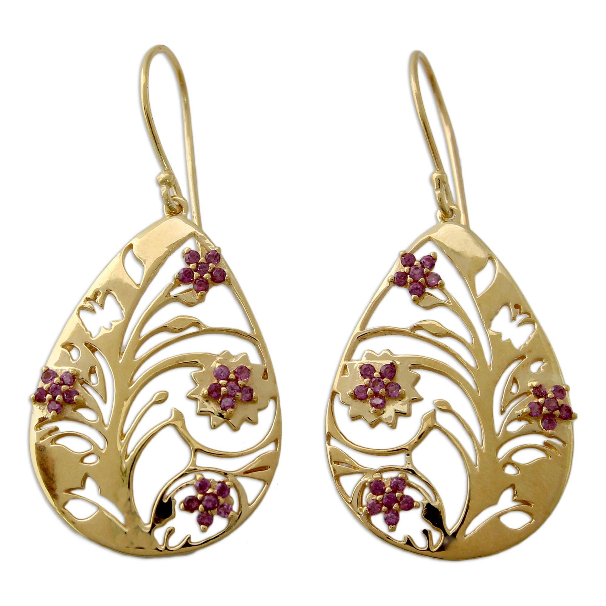 India 22k Gold Vermeil Rhodolite Tree Of Life Earrings Jali