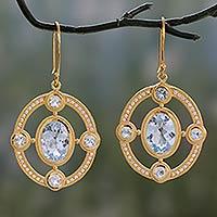 Gold vermeil blue topaz dangle earrings,