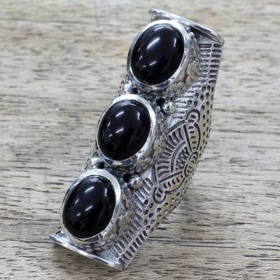 Onyx multi-stone ring, 'Princess Trio' - Hand Made Multi-Stone Onyx Sterling Silver Ring from India