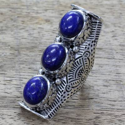 Lapis lazuli cocktail ring, 'Princess Trio' - Lapis Lazuli on Sterling Silver Full Finger Ring from India