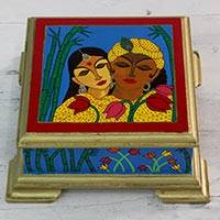 Wood box, 'Divine Romance' - Hand Painted Radha and Krishna Theme Decorative Box