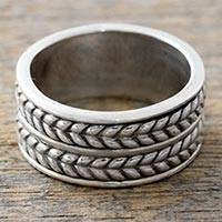 Sterling silver band ring, 'Dual Braids' - Artisan Crafted Sterling Silver Ring with Braided Motif