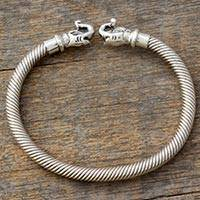 Sterling silver cuff bracelet, 'Elephant Kiss' - Handcrafted Sterling Silver Indian Elephant Cuff Bracelet