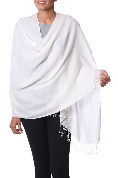 Cotton shawl, 'Dancing Cloud' - Fringed Off White 100% Cotton Shawl from India
