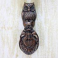 Brass door knocker, 'Owl Arrival' - Copper Plated Brass Owl Door Knocker with Antique Look