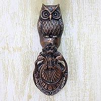 Brass door knocker, 'Owl Arrival' - Copper Plated Brass Owl Door Knocker with Antique Look
