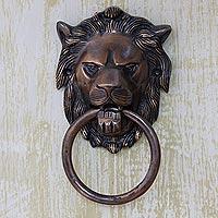 Brass door knocker, 'Lion Arrival'