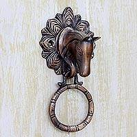 Brass door knocker, 'Horse Arrival' - Horse Door Knocker Copper Plated Brass with Antique Look