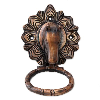 Brass door knocker, 'Horse Arrival' - Horse Door Knocker Copper Plated Brass with Antique Look