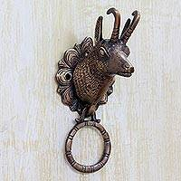Brass door knocker, 'Deer Arrival' - Indian Antiqued Copper Plated Brass Deer Door Knocker