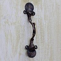 Brass door handle, 'Ganesha Passage' - Ganesha Door Handle in Antiqued Copper Plated Brass India