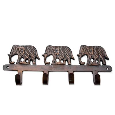 Brass key holder, 'Adventurous Elephants' - Key Holder Antiqued Elephants on Copper Plated Brass