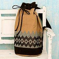 Cotton backpack, 'Traveler's Delight' - Artisan Crafted 100% Cotton Drawstring Backback