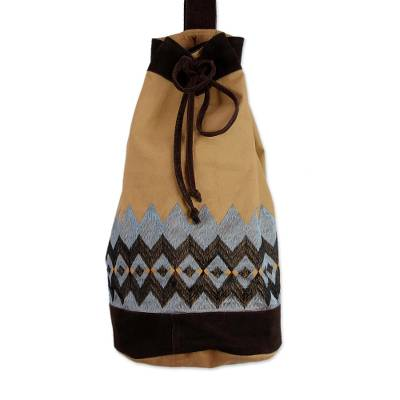Artisan Crafted 100% Cotton Drawstring Backback
