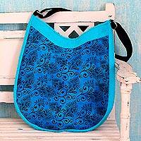 Cotton shoulder bag, 'Midnight Vines' - Artisan Crafted Blue Cotton Shoulder Bag with Floral Print