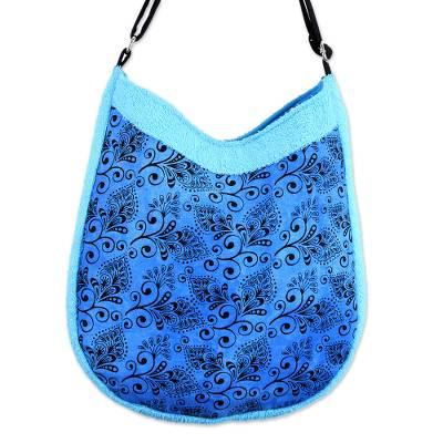 Artisan Crafted Blue Cotton Shoulder Bag with Floral Print
