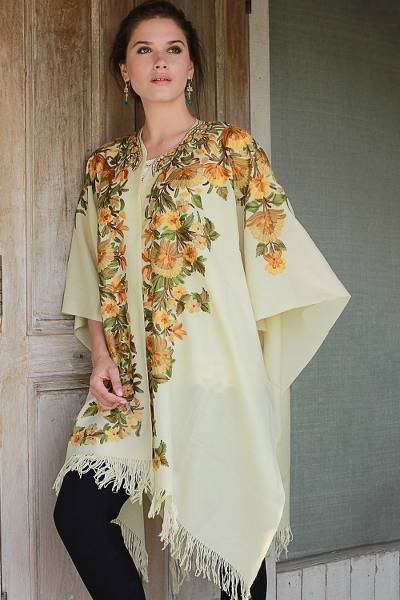 Embroidered wool cape, 'Ravishing Alabaster' - Women's Embroidered Wool Cape in Alabaster with Flowers