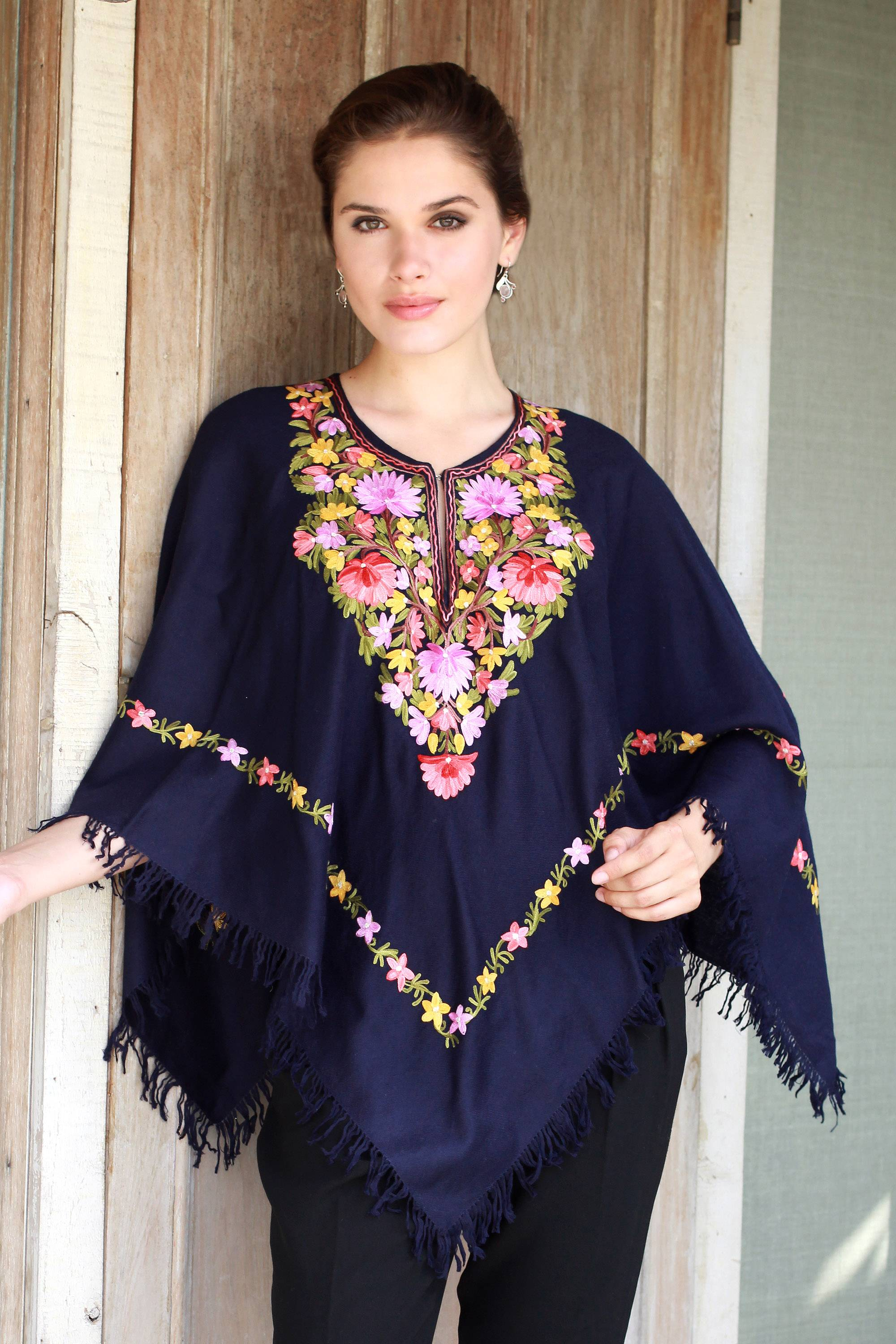 Unicef Market Dark Blue Wool Poncho With Pastel Flower Embroidery Royal Garden