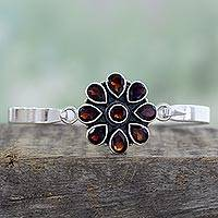 Garnet bangle bracelet, 'Garnet Floral' - Handmade Garnet and Sterling Silver Floral Bangle Bracelet