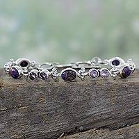 Amethyst link bracelet, 'Purple Song' - Handmade Amethyst and Reconstituted Turquoise Link Bracelet