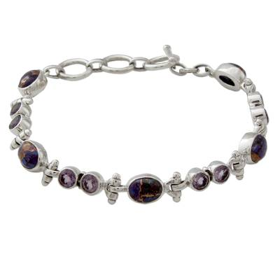 Handmade Amethyst and Reconstituted Turquoise Link Bracelet