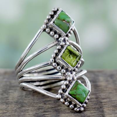 Novica Peridot cocktail ring, Forest Light