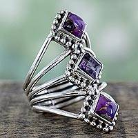 Amethyst cocktail ring, 'Purple Allure' - Amethyst and Reconstituted Turquoise Handmade Cocktail Ring