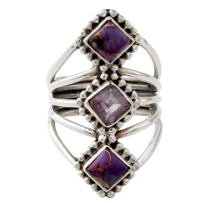 Amethyst and Reconstituted Turquoise Handmade Cocktail Ring