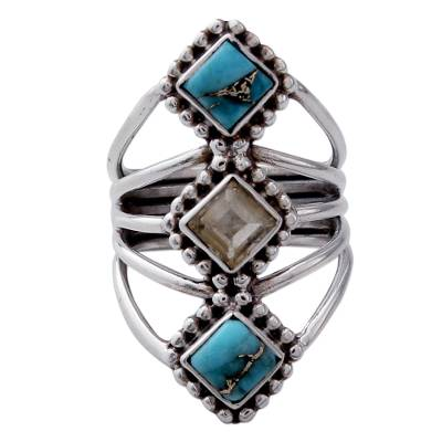 Handmade Citrine and Reconstituted Turquoise Ring