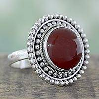 Carnelian cocktail ring, 'Tangerine Sunset' - Artisan Crafted Carnelian and Sterling Silver Cocktail Ring