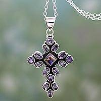 Amethyst pendant necklace, 'Lilac Spirituality' - Amethyst and Sterling Silver Necklace with Cross Pendant
