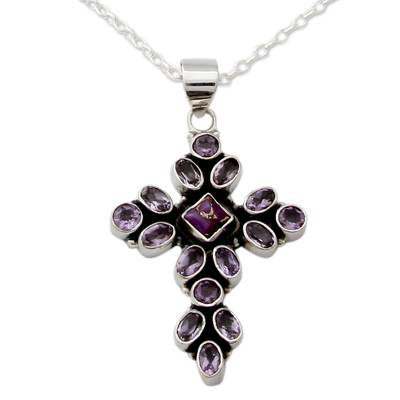 Amethyst and Sterling Silver Necklace with Cross Pendant, 'Lilac  Spirituality'