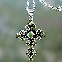 Peridot pendant necklace, 'Green Tranquility' - Peridot and Sterling Silver Necklace with Cross Pendant