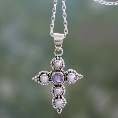 Cultured pearl and amethyst pendant necklace, 'Harmony in White' - Cultured Pearl and Amethyst Necklace with Cross Pendant