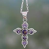 Amethyst cross necklace, 'Divine Harmony' - Handcrafted Amethyst and Sterling Silver Cross Necklace